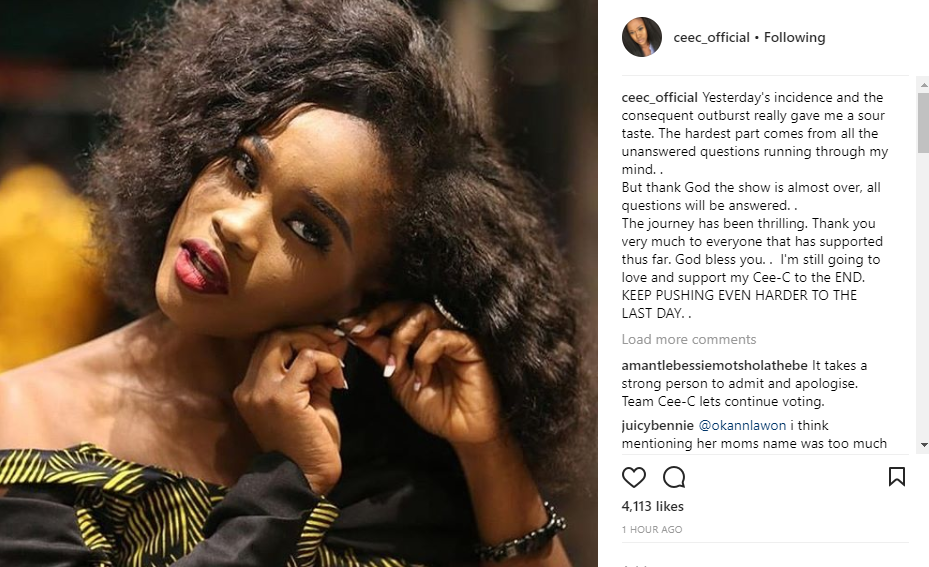 #BBNaija: \'\'Yesterday\'s incident and the consequent outburst really gave me a sour taste\' Ceec\'s sister says