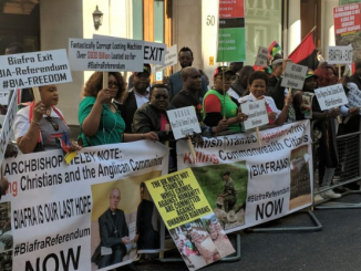 Photos of Biafra agitators protesting in London as President Buhari meets the Queen