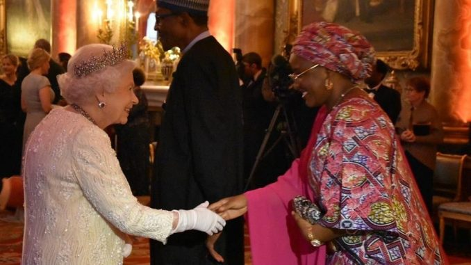 Photos: President Buhari and his wife, Aisha, meet with the Queen of England, Queen Elizabeth II