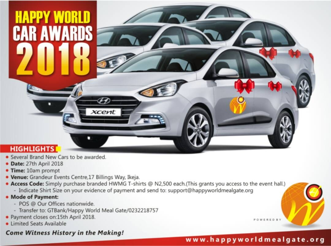 Happy World Car Awards slated for 27th April 2018