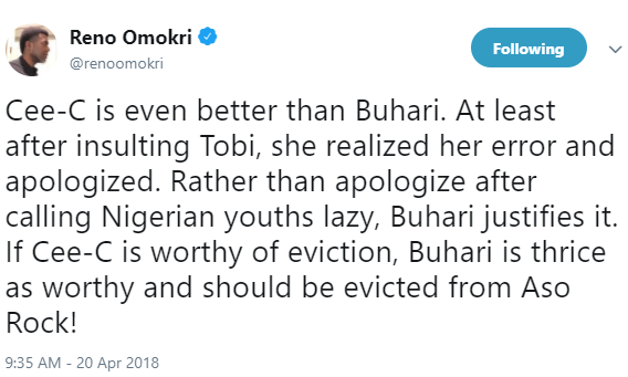 """Ceec is even better than Buhari"" Reno Omokiri says in new tweet"