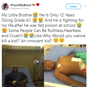 12 year old South African boy battling for his life after he was poisoned in school