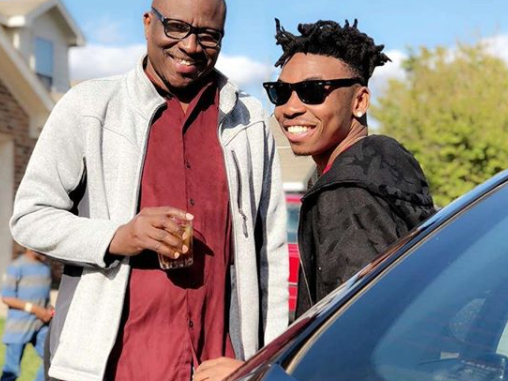 Photo: Mayorkun re-unites with his dad after two years of not seeing him...