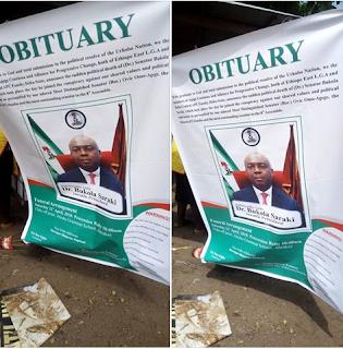 Aggrieved supporters of suspended senator Ovie Omo-Agege release senate president Bukola Saraki's ''obituary''(photos)