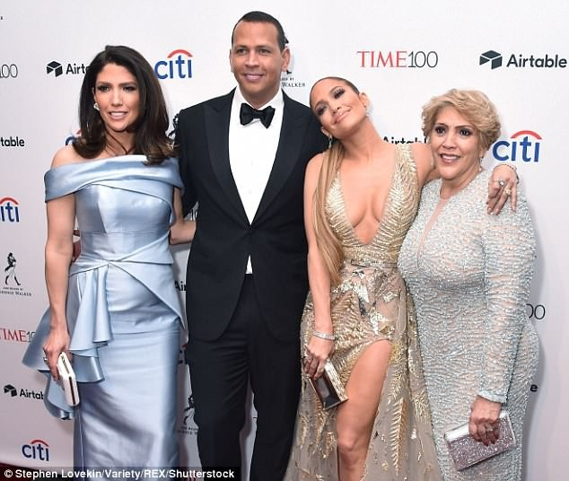 Jennifer Lopez dazzles in plunging champagne gown as she attends Time 100 Gala with Alex Rodriguez, her sister and mom (Photos)