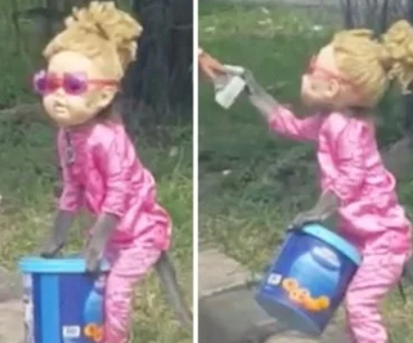 Monkey forced to wear doll's head and dress up as a girl then beg at road side (video)