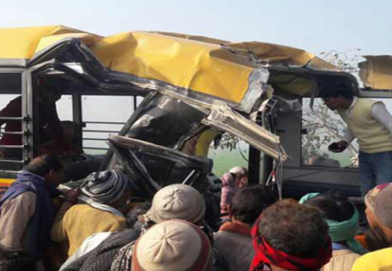 13 children and driver die as bus collides with train in India