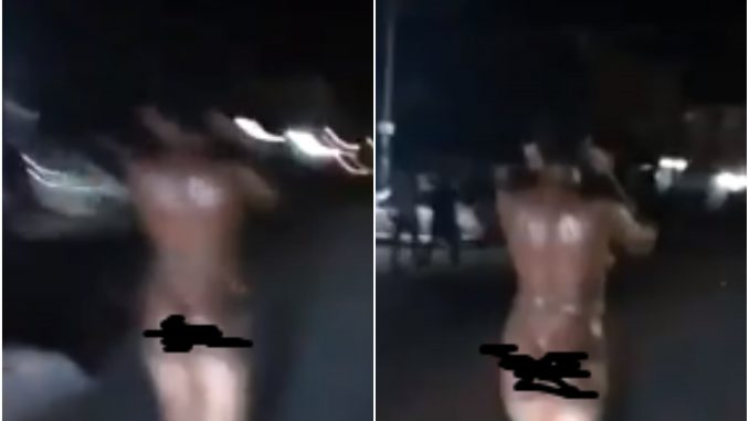 Video: Lady reportedly runs mad after she was dropped off by a man in Imo