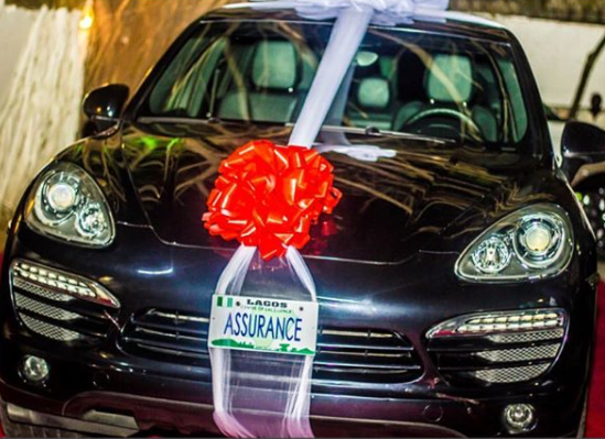 Photos: Here\'s the moment Davido gave his boo, Chioma a brand new Porsche SUV to celebrate her 23rd birthday