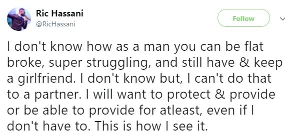 Bonario Nnags, OAP Osi Suave react to singer, Ric Hassan's tweet saying broke men should not keep girlfriends