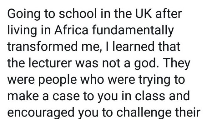 Nigerian graduate says schooling in the UK made him realise how different Nigerian lecturers are