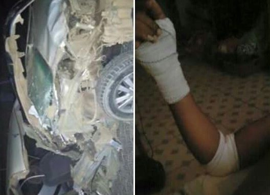 Nigerian man miraculously walks away with minor injury from this wrecked car