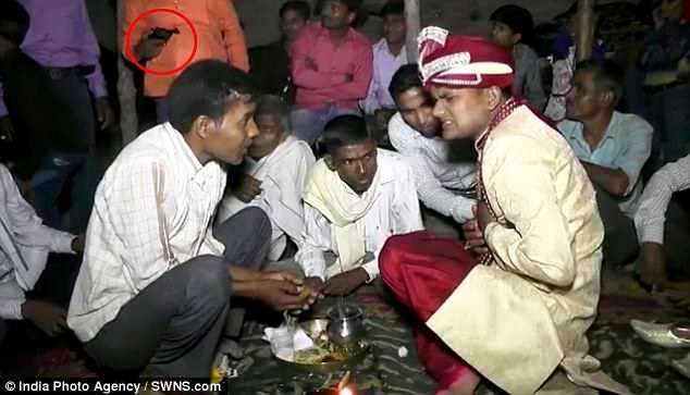 Watch the shocking moment gunman shot a groom at close range during his wedding celebration in India (Video)