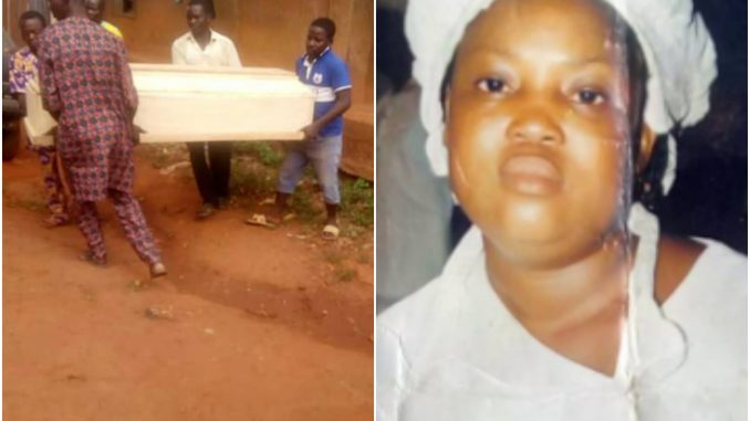 Photos: Lady beheaded inside Cherubim and Seraphim church in Ogun state has been buried
