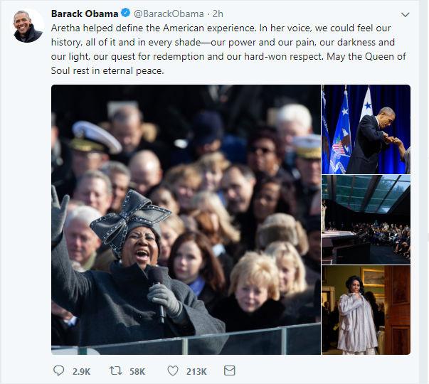 Barack Obama on Aretha Franklin