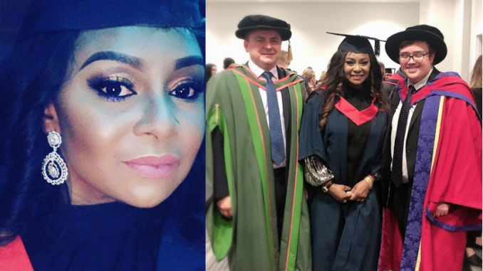 Former actress Victoria Inyama celebrates as she bags a degree from University of East London (Photos)