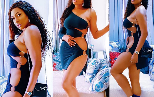 Ain't no small chops but full meal - Chika Ike says as she shares more photos of herself in a risqué barely-there dress