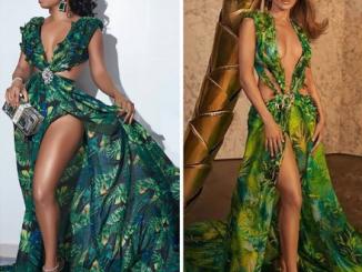 Toke Makinwa recreates Jennifer Lopez's iconic Versace outfit......did she nail it? (photos)