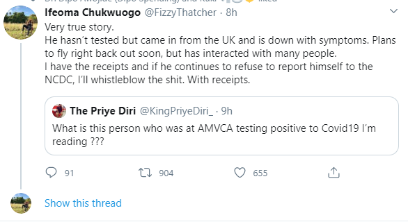 """""""If you attended the AMVCAs , please self isolate immediately"""" - Producer advises as she threatens to report person who flew in for AMVCA and has coronavirus symptoms"""