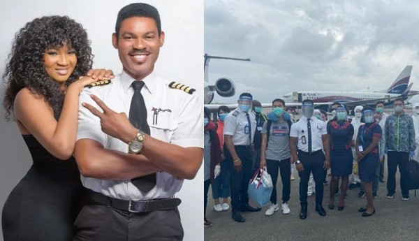 I'm not sure how to feel - Omotola Jalade shares photos of her husband, Captain Ekeinde flying out Chinese nationals who arrived Nigeria weeks ago