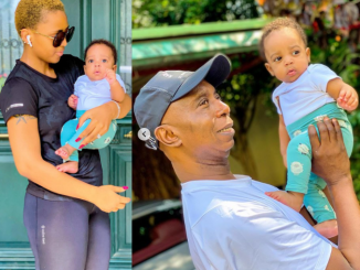 Adorable photos of Regina Daniels and Ned Nwoko with their son, Munir