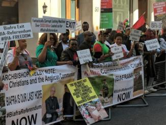 Photos of Biafra agitators protesting in London as President Buhari meets the Queen