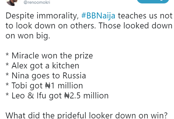 Reno Omokri shades Ceec in new tweet, says #BBNaija has taught everyone never to look down on others