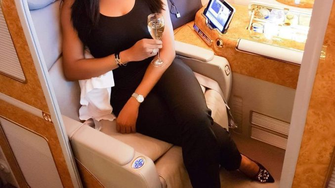 Chika Ike, her Hermes bag and Gucci bracelet jet out in first class