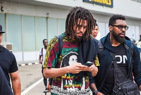 Photo: J Cole arrives Nigeria ahead of his performance in Lagos this weekend