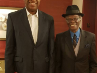Minister of Foreign Affairs, Geoffrey Onyeama pictured with 82 year old Nigerian ambassador to the US, Justice Sylvanus Nsofor