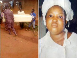 Photos: Lady beheaded inside Cherubim and Seraphim church in Ogun state has been buried