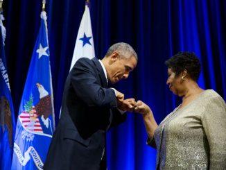 Barack Obama and Aretha Franklin