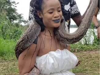 Nollywood actress, Uche Ogbodo wraps live python round her neck (Video)