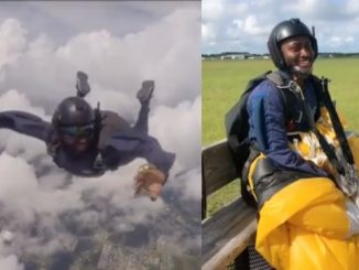 Miracle goes sky diving (video)