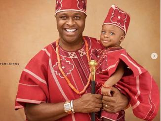 Nollywood actor Femi Adebayo celebrates his son Fadhil as he clocks one today (photos)
