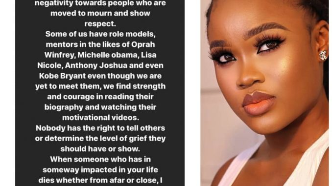 Nobody has the right to tell others the level of grief to show- Ceec replies Koko, others criticizing Nigerians that are mourning Kobe Bryant