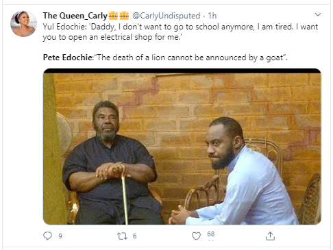 You told a whole Pete Edochie that? - Nigerians hilariously react after Yul Edochie revealed he told his dad he wanted to drop out of school