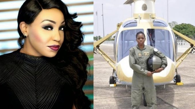Rita Dominic replies follower who had issues with her not celebrating Nigeria's first female combat helicopter pilot, Tolulope Arotile when she was alive