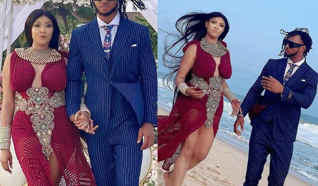 Actress, Angela Okorie marries her fiance Desmond in a romantic beach wedding (Photos)