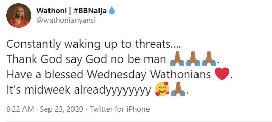 I'm constantly waking up to threats — ex-BBNaija lockdown housemate, Wathoni, says