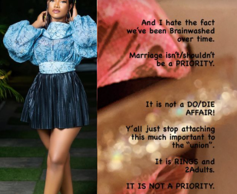 """""""Stop pushing the narrative that women need marriage more"""" BBNaija's Tacha says marriage is not a priority"""