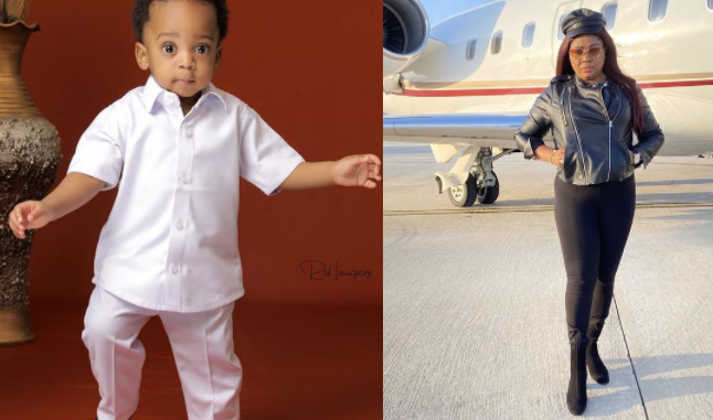 You shall be a strong pillar in Ned Nwoko's dynasty - Regina Daniels' Mother celebrates her grandchild on his 1st birthday