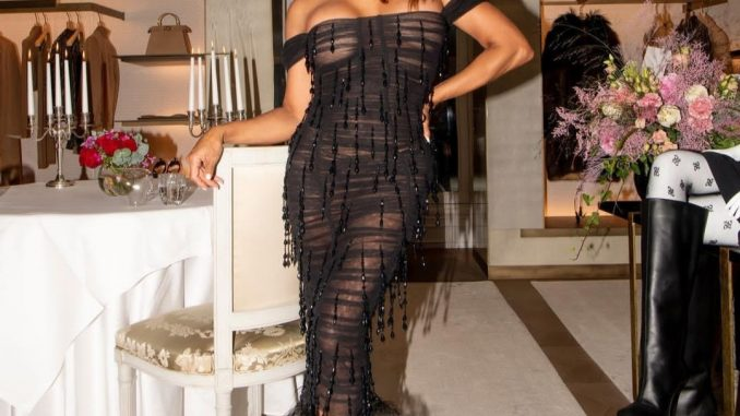 Marjorie Harvey puts her boobs on display as she wears see-through dress without a bra to celebrate her 57th birthday (photos)